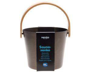 Rento aluminium 5 liter brun saunaspand med bambus hank